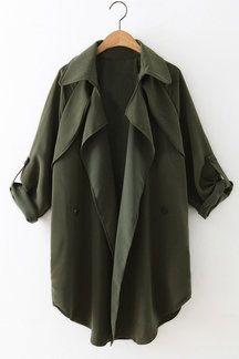 Army Green Lapel Collar Trench Coat With Double-breasted