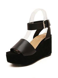 Black Flatform Strap Sandals