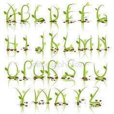 Deposiphotos - Green Plan alphabet with reflexion