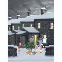 This is a Signed Limited Edition Giclee Print by the artist Leigh x of Little Festive Helpers (Paper) - Giclée on paperPublished November Delivery - Price Match Promise - Safe & Secure Payment - Money Back Guarantee - High Leigh Lambert, Building Painting, Happy December, Daddys Little, Cool Art Drawings, Children's Book Illustration, Illustrations, Classical Art, Naive Art