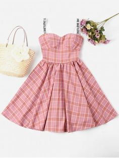 No Summer Letter and Plaid Sleeveless Sweetheart Mini A-Line Casual Casual Plaid Sweetheart Dress Black Dress Outfits, Pretty Outfits, Stylish Outfits, Girl Outfits, Cute Outfits, Fashion Outfits, Dress Fashion, Cute Casual Dresses, Pink Dress Casual