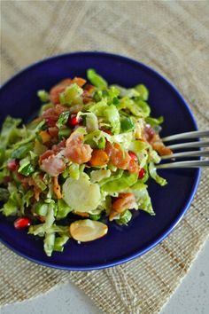 Warm Asparagus and Brussels Sprouts Salad...complete with pomegranate arils, toasted almonds and BACON! Mmmmm......