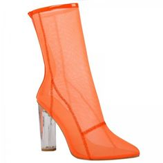 Callie High Ankle Heeled boots in Orange Mesh with Perspex heel ($57) ❤ liked on Polyvore featuring shoes, boots, ankle booties, bootie boots, transparent heel boots, clear-heel boots, mesh boots and clear heel booties