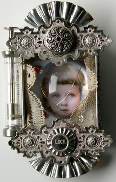 LOCK Mixed Media Assemblage Altered Art TIn