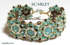 SCARLET Swarovski Rivoli and SuperDuo Beadwork Bracelet by bead4me, $11.00