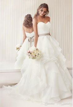 2015 Elegant Sweetheart A Line Ruched Organza Bridal Wedding Gowns With Layered Skirt And Sashes Wedding Reception Dresses Wedding Dresses For Sale Online Wedding Dresses Strapless From Beautypalace, $111.02| Dhgate.Com
