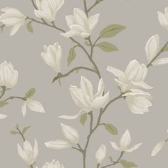 Adorn your walls with this elegant wallpaper with magnolias in light taupe. This surface printed wallpaper has a beautiful matte surface and is perfect for creating a stylish accent wall in a classic interior. The wallpaper design is printed on a