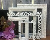 Distressed Vintage Style PICTURE FRAMES - Ornate Square - Set of 5 - Antique White - Shabby Chic Wedding - w/ Glass N Backing