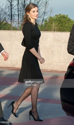 Queen Letizia of Spain attends a funeral chapel for Alicia de Borbon Parma, Duchess of Calabria, at La Paz morgue on March 29, 2017 in Madrid, Spain.