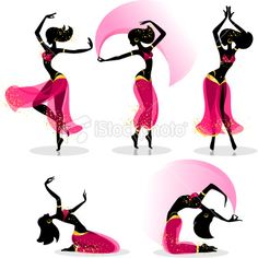 Different belly dancers poses and motions Royalty Free Stock Vector Art Illustration