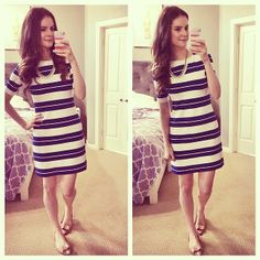 Veronika's Blushing: Bold Blue Stripes