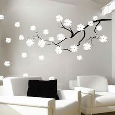 Contemporary Branch Flowers Vinyl Wall Decal | Trendy Wall Designs