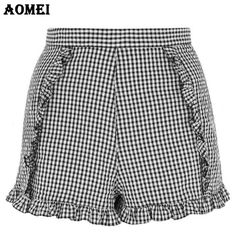 Summer Vintage Plaid Shorts with Ruffles Trim Invisible Zipper Junior Girls Fashion Retro Gingham Bottoms Short Clothes  #fashionblogger #swag #musthave #fashionday #beautiful #highlife #ootd #ootn #glam #fashionblog