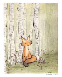 Woodland Fox Among Birch Forest Watercolor von sweetacaciashop