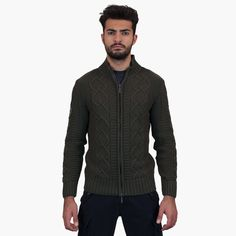 "#sportswear #peacekeeper Mens sweater - Dark green. Full-zipped high collar sweater. Very particular type knit. Patch on the sleeve dedicated to ""Aviazione""."