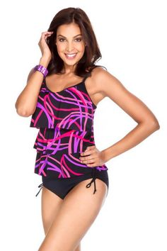 Caribbean Joe Swimwear Women's Ruffled Layered Tankini Top. Color In Trance Print. Fierce print. This womens swim suit top features layered ruffles, in a multi-color print and padded cups. Mix and match swimwear. Each piece is sold separately. Style # 860584. Caribbean Joe Swimwear Women's Ruffled Layered Tankini Top.