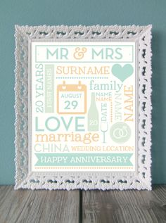 Anniversary print in various sizes *personalised* on my etsy