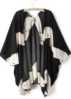 black and white stripe dyed kimono