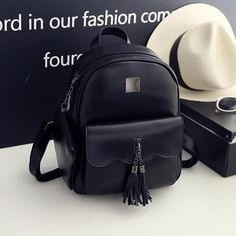 Women's Fashion PU Leather Casual Tassel Backpack 4 Colors