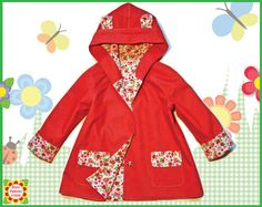 Hooded Coat Sewing Pattern Children, Girls Coat PATTERN,18m-10y, Baby, Toddler Clothing pdf Patterns, Supplies, handmade, Dresspattern4girls by 5Berries on Etsy https://www.etsy.com/listing/207387831/hooded-coat-sewing-pattern-children