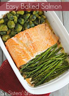 Easy Baked Salmon With Salmon Fillets, Frozen Brussels Sprouts, Asparagus, Olive Oil, Butter, Garlic Salt, Pepper, Seasoning