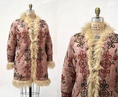 Vintage Embroidered Shearling Afghan Jacket Coat Medium Large//  70s Shearling Coat Embroidered Sheepskin Fur Boho Afghan Jacket