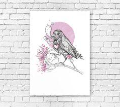 50% OFF  //SALE  pink bird shedding tears  art by idanlightman