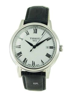 Tissot Carson Quartz Mens Watch Features : Stainless Steel Case Leather Strap Callibre : Quartz Movement Analogue Display Sapphire Crystal Glass White Dial Roman Numerals Date Display 30 Meter Water Resistance Case Daimeter : Case Thikcness : Tissot T Touch, Roman Numerals Dates, Stainless Steel Case, Chronograph, Watches For Men, Sapphire, Quartz, Display, Crystals