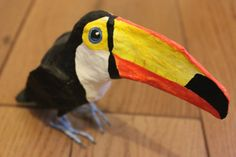 Items similar to Hand Made Paper Marche Bird Sculpture Brazilian Toucan on Etsy Origami, Bird Sculpture, Paper Toys, How To Make Paper, Diy And Crafts, Birds, Hand Painted, Handmade, Painting