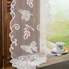 Ivory Lace Butterfly Doily Table Runner