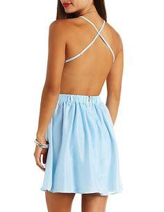 Neon Strappy Backless Chiffon Dress: Charlotte Russe $30