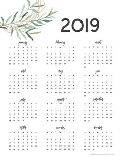 Get Organized with our Free Printable 2019 Planner! Agenda Printable, Printable Yearly Calendar, Print Calendar, Free Printable Calendar, Calendar Pages, Free Printables, Calendar 2019 One Page, School Planner, School Calendar