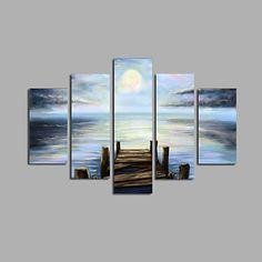 【今だけ☆送料無料】 アートパネル  自然・風景画5枚で1セット オーシャン 船着き場 月 ムーン【納期】お取り寄せ2~3週間前後で発送予定