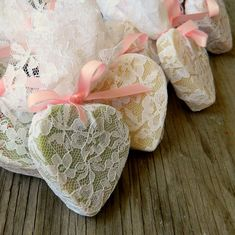 Buy lace & pink ribbons. Wrap soap and give to guests as favors!  heart soap/ wedding favour idea <3