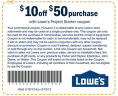 Lowe's $10 off $50 through 5/18/13