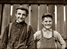 """L. Hine. South Bend Mill Boys  October 1908. South Bend, Indiana. """"Going home to lunch! Two boys from Singer Manufacturing Company."""" Juniper Gallery"""