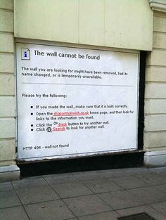 Street art inspired from 404 pages this is fantastic 404 Pages, Graffiti Tagging, Name Change, Branding, Humor Grafico, Creative Advertising, Grafik Design, Funny Signs, Public Art