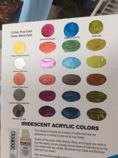 From the Golden lecture on acrylics. Irridescent paints from acrylic+metallic. Iron Oxide, Acrylic Colors, Acrylics, Color Mixing, Iridescent, Den, Shell, Artsy, Metallic