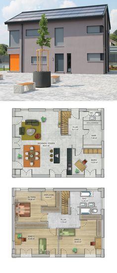 Satteldach Haus modern mit Putzfassade grau - Massives Fertighaus bauen Grundriss Haus ICON 4 XL Dennert Massivhaus - HausbauDirekt.de