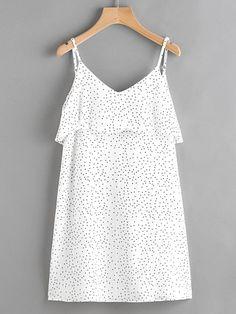 Vestido de tirante de lunares a capas de espalda abierta con escote V