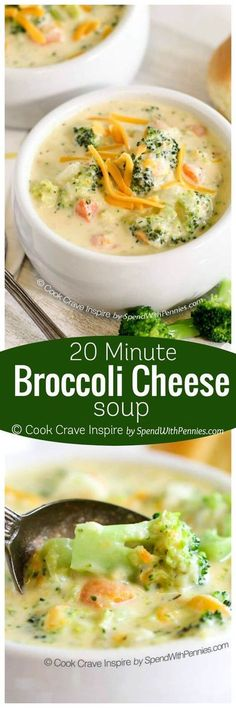 This delicious soup is made from scratch in just… 20 Minute Broccoli Cheese Soup! This delicious soup is made from scratch in just 20 minutes! The perfect meal to warm you from the inside out on a chilly day! Soup Recipes, Vegetarian Recipes, Dinner Recipes, Cooking Recipes, Healthy Recipes, Healthy Soup, Potato Recipes, Smoothie Recipes, Snacks