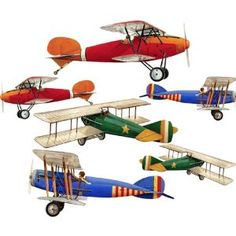 Primary Biplane Airplane Wall Sticker Decal Large Sheet * Check out the image by visiting the link.