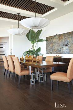 A Modern Hillside Laguna Beach Dwelling Linen covered fixture by Lighting Innovation.   48 dia x 11 ht.