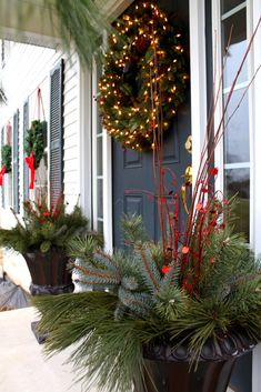 decorating Christmas urns | The outside decorating is coming along nicely. I wanted to save a ...