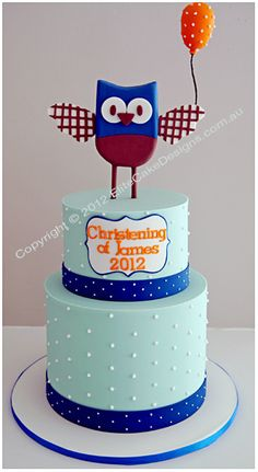 Baby Owl Christening cake uniquely designed by EliteCakeDesigns! Visit our exclusive Christening Cake design Gallery Christening Cake Designs, Christening Cake Boy, Christening Cakes, Crazy Cakes, Fancy Cakes, Cute Cakes, Baby Boy Cakes, Baby Shower Cakes, Cakes Sydney
