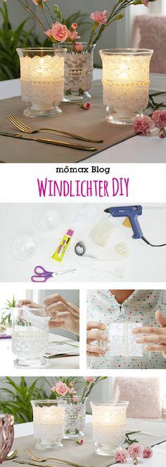 Romantische Windlichter ✨ selber machen! Mit weißer Spitze und Perlen - eignet sich auch ideal für die Hochtzeitstafel! DIY - Jar