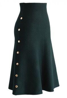 Studs Waffle Knit Midi Skirt in Dark Green