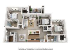 Luxury 1 2 Amp 3 Bedroom Apartments In Atlanta Ga Layouts Apartment Layout, 3 Bedroom Apartment, Apartment Interior Design, Apartments In Atlanta Ga, Luxury Apartments, Sims House Plans, House Floor Plans, Bedroom Layouts, House Layouts