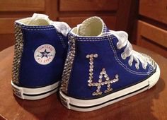 c721a8c0eeda Royal Blue LA Dodgers bling Converse by Munchkenzz on Etsy Bling Converse