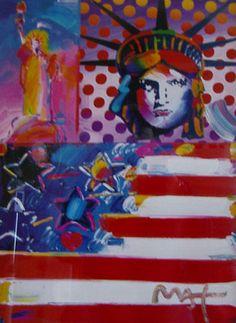 Peter Max: US flag and the Statue of Liberty